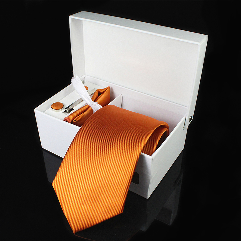 Mens Tie Silk 8cm Formal Necktie Handkerchief Cufflinks Gift box set Solid Red Yellow Ties For Man Business Wedding Gift Party