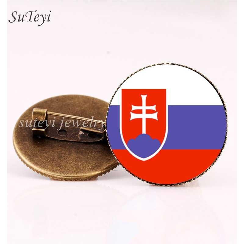 SUTEYI Сан-Марино/Флаг Словакии значок брошь Словения/Шотландия/Украина значки Стекло купол булавки броши сделай сам аксессуар Для женщин подарок