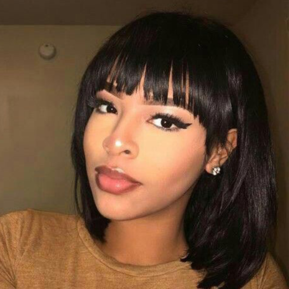 Mellow Straight Short Human Hair Wig With Full Bangs For Black Woman Non Remy Brazilian Short