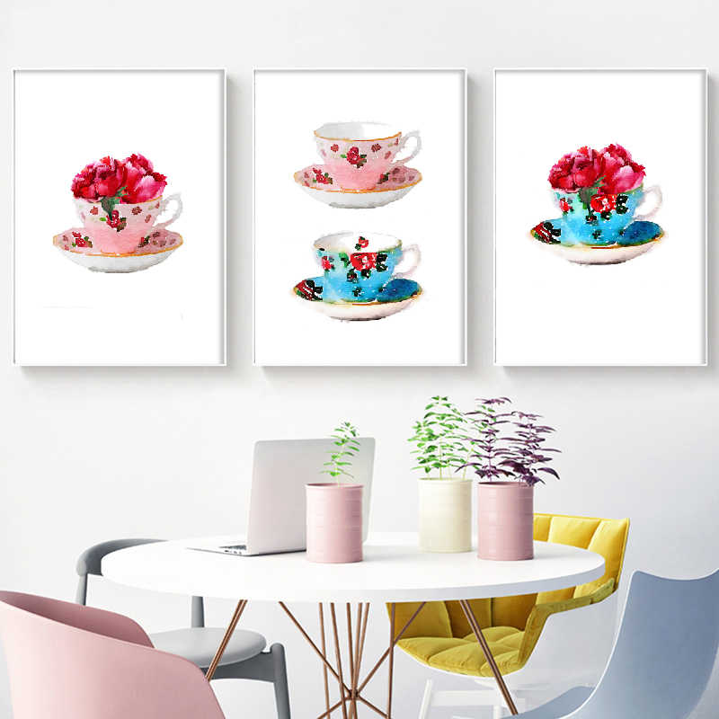 Vintage Teacup With Peony Posters And Prints Watercolor Shabby Chic French Country Home Kitchen Art Canvas Painting Wall Decor Painting Calligraphy Aliexpress