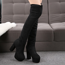2016 Winter New Black Suede Super Chunky High Heels Platform Pumps Shoes Womens Over The Knee