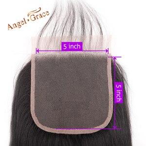 Image 2 - Melek Grace saç 5x5 düz dantel kapatma ücretsiz/orta kısmı İnsan saç doğal renk brezilyalı Remy saç kapatma ile bebek saç