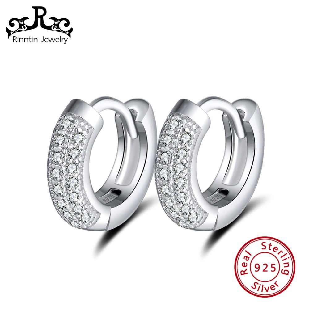 Rinntin 100% Real 925 Sterling Silver Hoop Earrings for Women AAA Zircon Perfect Polished Tiny Silver Earring Jewelry TSE103