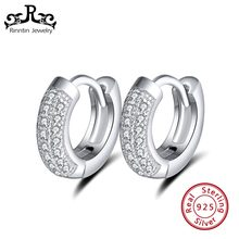 Rinntin 100% Real 925 Sterling Silver Hoop Earrings for Women AAA Zircon Perfect Polished Tiny Silver Earring Jewelry TSE103(China)