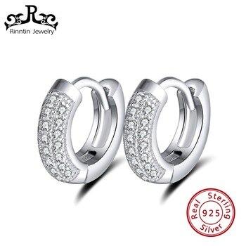061557aeb3f5 Rinntin 100% Real 925 plata esterlina aro pendientes para las mujeres de  circón AAA perfecto de pulido de plata pendiente de la joyería TSE103