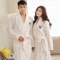 Winter Thick Warm Women Robes 2017 Butterfly Embroidery Coral Fleece Couple Bathrobes Hotel Spa Plush Long