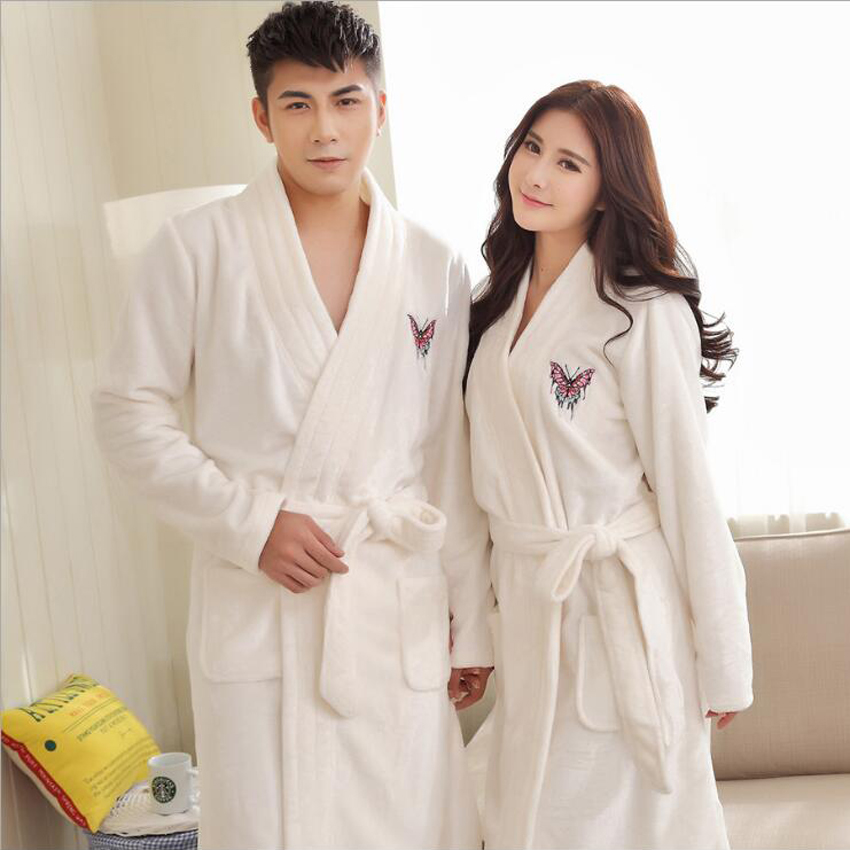 Winter Thick Warm Women Robes 2017 Butterfly Embroidery