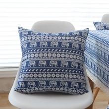 Pillowcase Ethnic Bohemian Print Elephant Blue Cotton Pillow Case Throw Waist Square Cushion Cover Home Decor cojines sofa Gift
