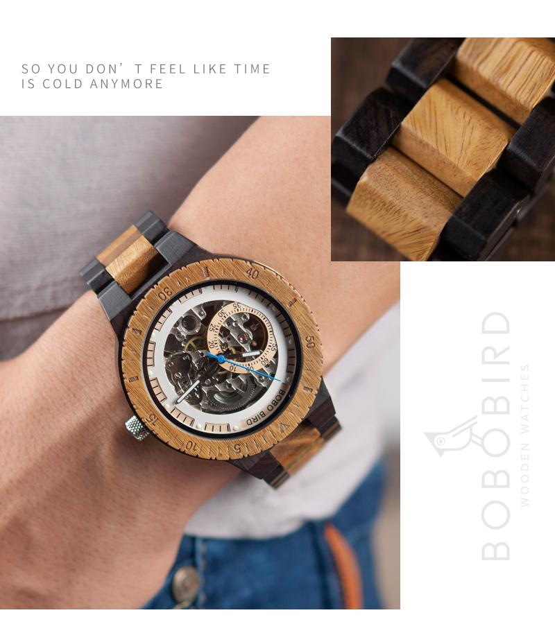 Reloj mecánico de madera caja de diseño Retro 3