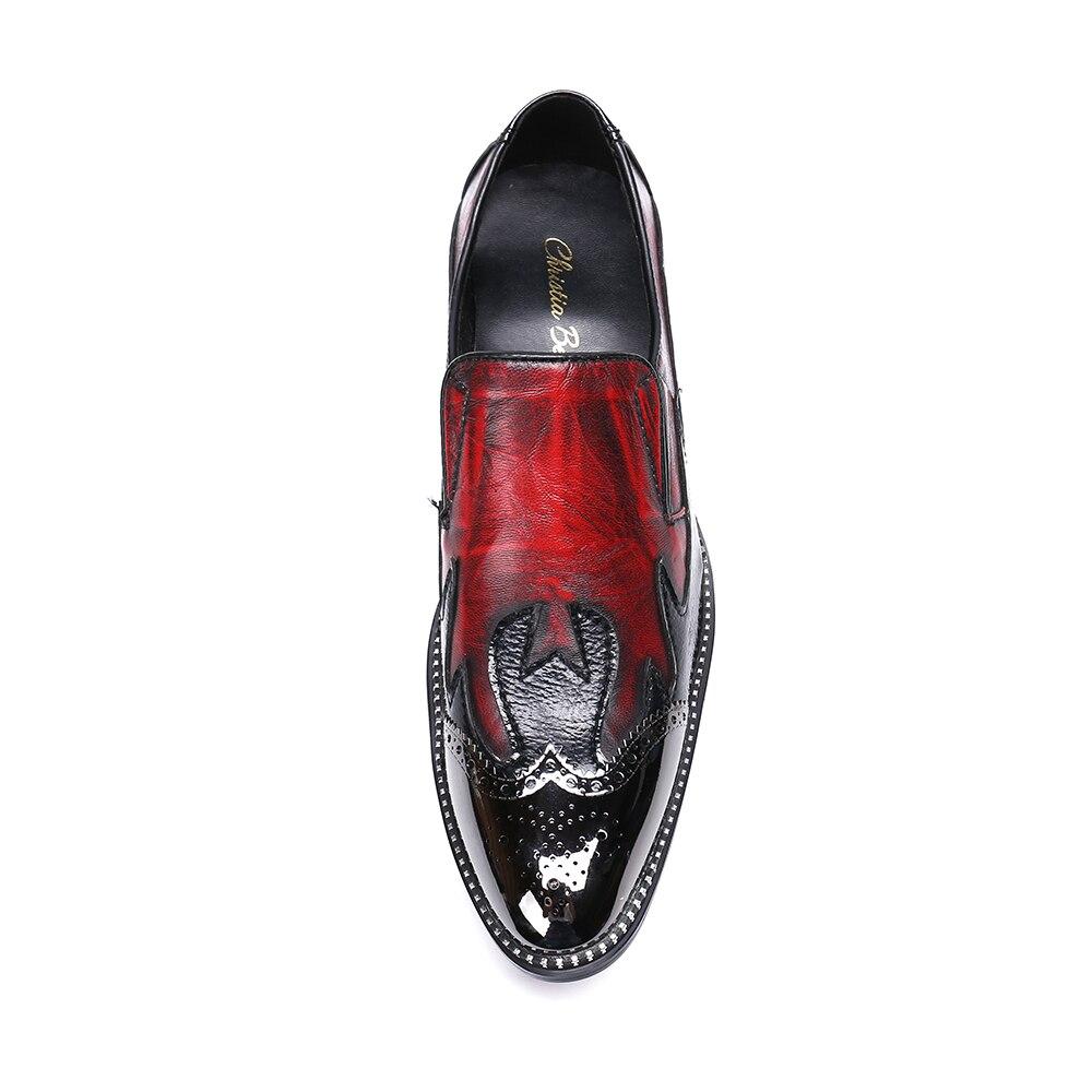 Bordée Mode Fer Des Sur Rouge 47 Glissement Taille Main Robe Casual Plus 38 Hommes Christia Chaussures La Bella Strass Orteil fwqg00