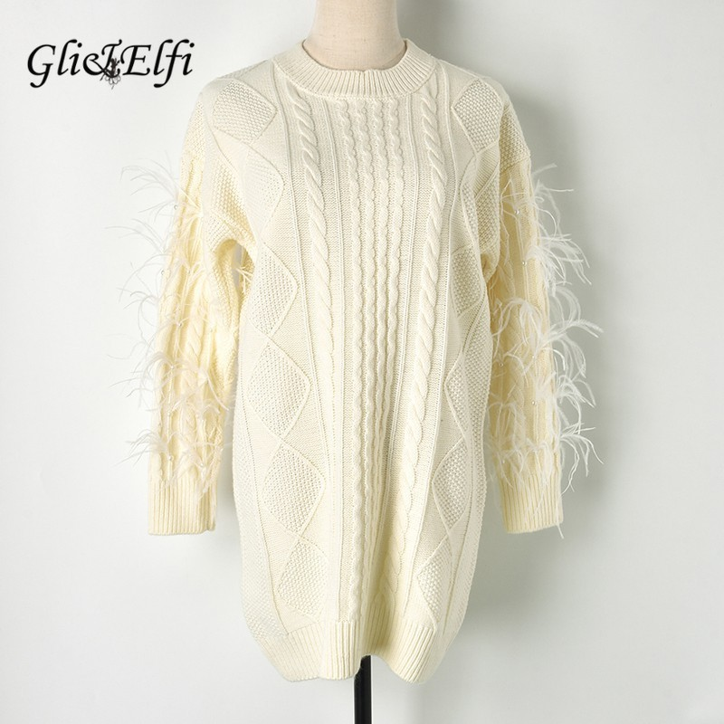 Women Sweet Sweater Feather Tassel Beading 2018 Autumn Winter Lady Elegant Sweet Jumper Long Thick Pullover Twist Knitted Tops-in Pullovers from Women's Clothing    1