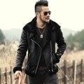 2016 nuevo invierno de lana de piel de hombre marca chaquetas de cuero de la motocicleta hombres abrigo de piel de cuero de imitación negro mens chaquetas de cuero y escudo