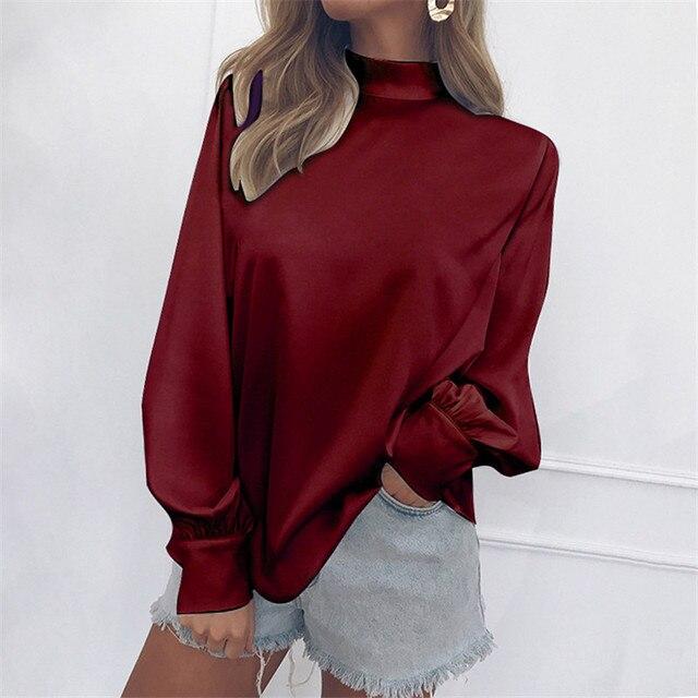 プラスサイズブランド新カジュアルシャツ女性オフィスブラウス白、赤、青高襟ランタンスリーブシフォンシャツ緩いトップス
