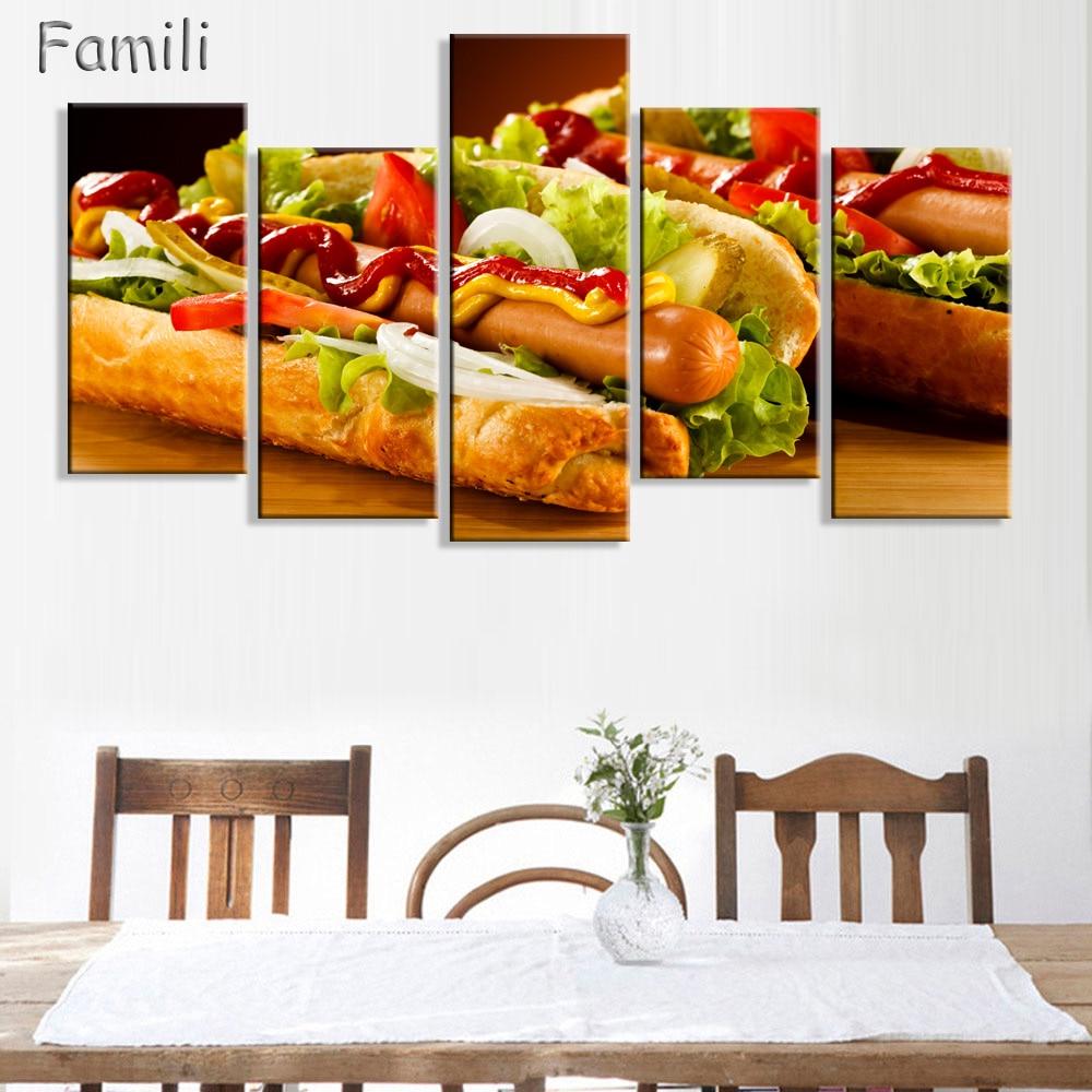 5pcs modern wall painting frameless hamburger fast food poster hd printing resturant kitchen. Black Bedroom Furniture Sets. Home Design Ideas