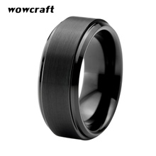 где купить Mens Tungsten Carbide Ring 8mm Brushed Matte Finish Top Black Plated Wedding Bands Beveled Edges Size 5-15 дешево