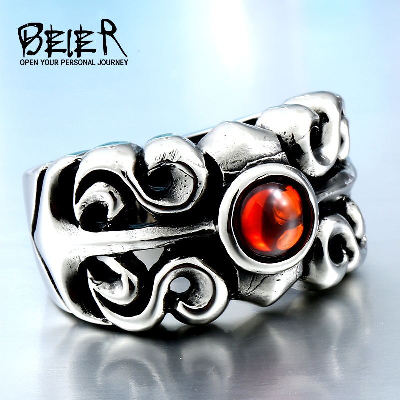 Dropshipping One Piece Vintage Friar Men's ring With red Stone