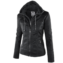 2018 Fashion Winter Faux Leather Jacket Women's Basic Jackets Hooded Black Slim Motorcycle