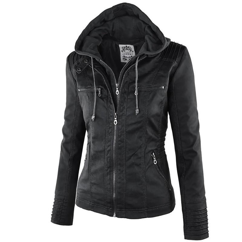 2018 Fashion Winter Faux Leather Jacket Women's Basic Jackets Hooded Black Slim Motorcycle Jacket Women Coats Female XS-7XL 50