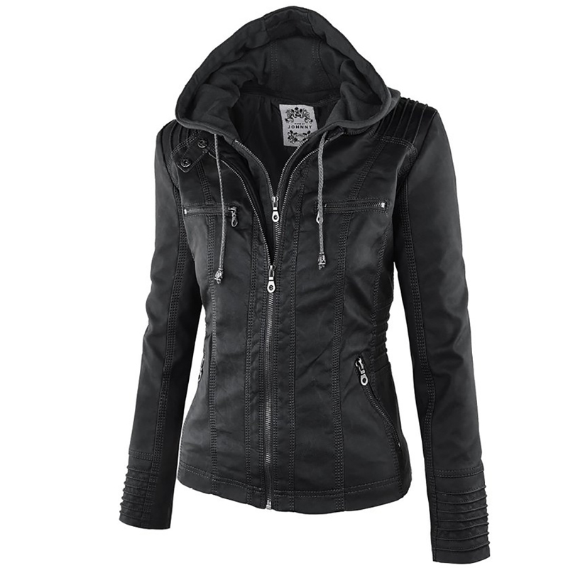 2018 Fashion Winter Faux Leather   Jacket   Women's   Basic     Jackets   Hooded Black Slim Motorcycle   Jacket   Women Coats Female XS-7XL 50