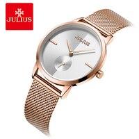 Julius Women Watches Fashion Hour Rose Gold Steel Strap Ladies Bracelet Watch Small Seconds Quartz Business Watch Montre Femme