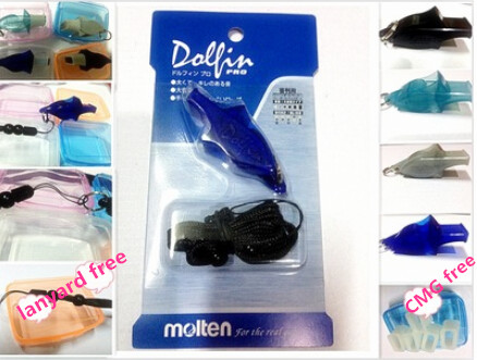 Free Shipping High Qulity Colourful Molten Whistle Dolphin Whistle Referee Whistle With Lanyard And CMG Blister Packing