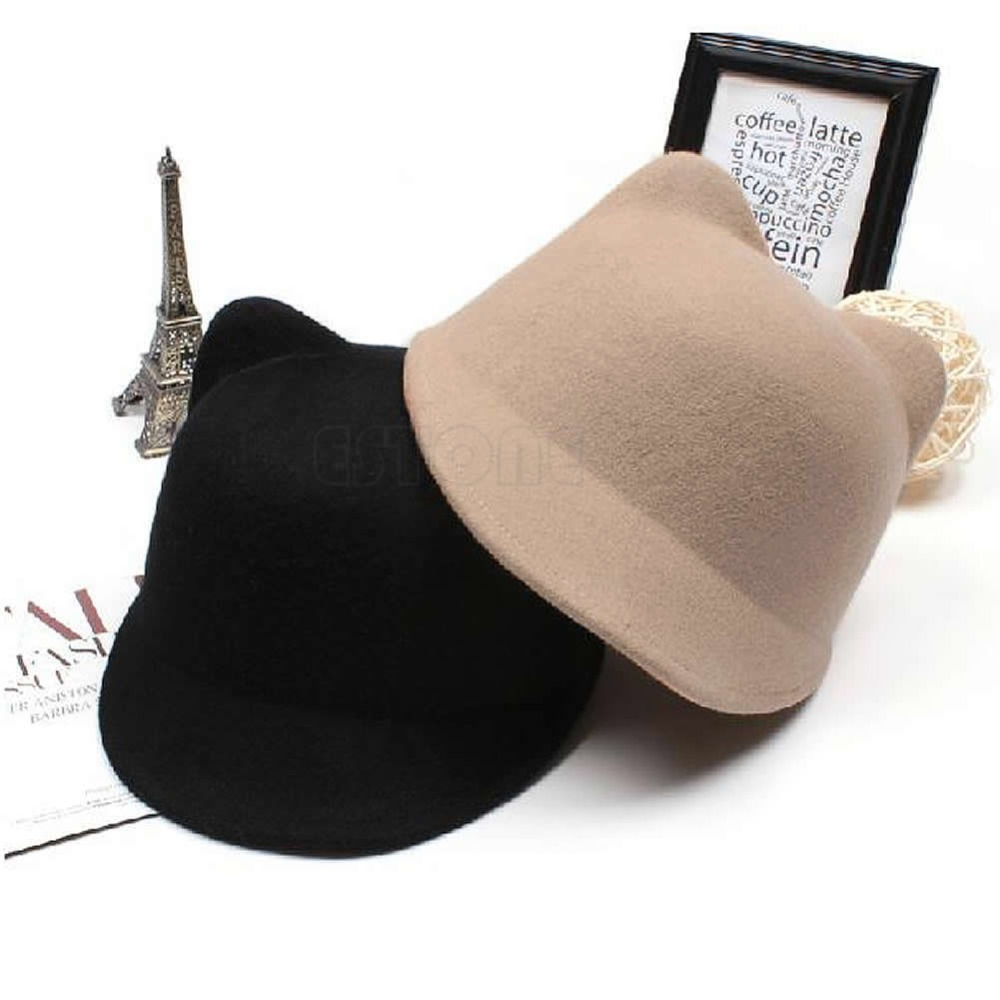 Hot Sale Қысқы Сән Әйелдер Devil Hat Cute Kitty Cat Ears Wool Derby Bowler Cap