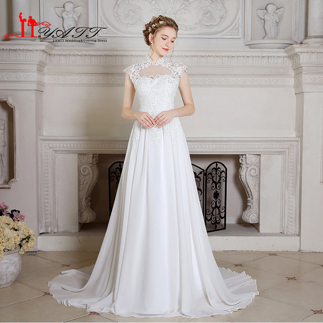 Real Image China Wedding Dresses White Ivory Lace Liques High Neck A Line Bohemian