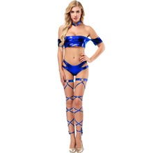 Wet Look Metallic Costume Women Club Dance Wear 4pcs Set Sexy Ladies Crop Tops Panties Leg Ring Strap Clubwear