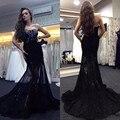 Elegante Negro Sirena Cariño Escote Sin Tirantes de Encaje Vestido de Fiesta Con Falda Escarpada Vestidos De Festa