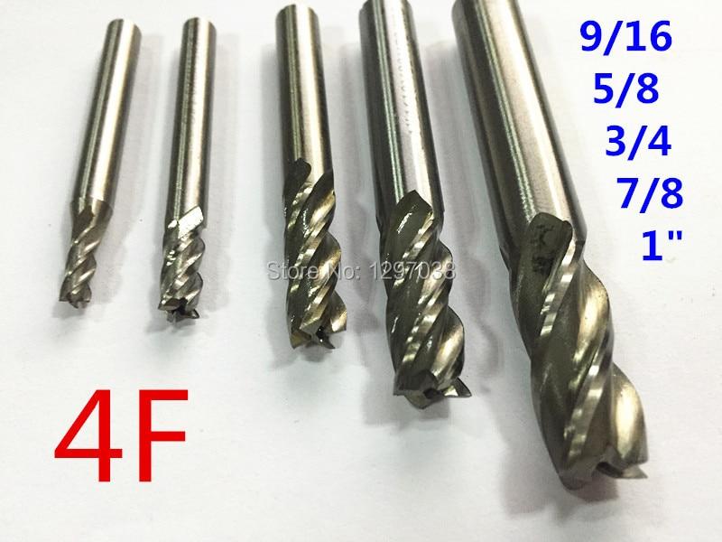 1pcs HSS End Mill CNC Tools 4Flute 9/16 5/8 3/4 7/8 1 Milling Cutter Router Bit CNC mill Drill bit new 3 flutes 8 8 15 69 7 7 25mm m2ai dia end mill router bit milling cutter machine cnc drill tool use for cutting aluminum