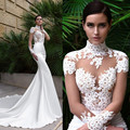 2017 Simple Mermaid Wedding Dresses Shee High Neck Short Sleeves Long With Lace Appliques Satin Court Train Custom Made Bridal