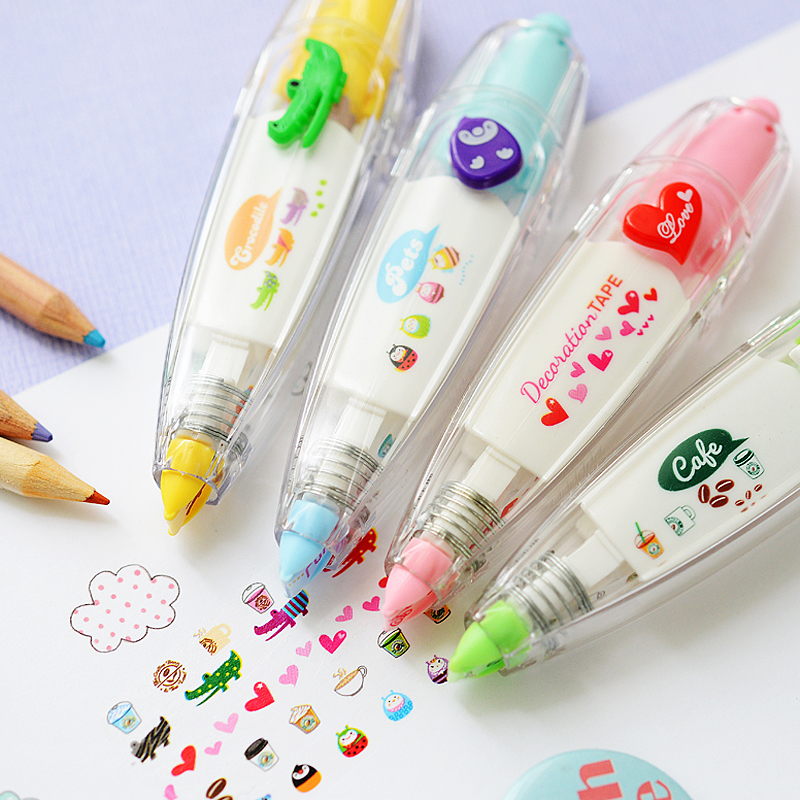 Korea Stationary Sweet Floral Correction Tape Pen Sticker Kids Students Decorative Masking Tapes Adesivos Label Tape Stickers