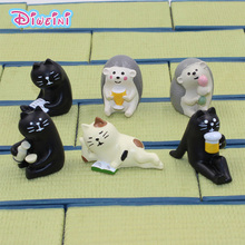 Drink Ear Tea Decole Cat Animal Model Miniature Figurine Fairy home Garden Wedding action Figures Doll Decoration Girl toy gift цена в Москве и Питере