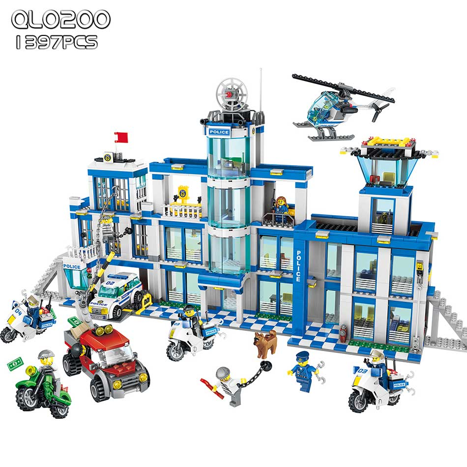 1397pcs City Police Series Police Station Building Blocks Set Assembled DIY Bricks Model Kids enlighten Toys for children friend police station swat hotel police doll military series 3d model building blocks construction eductional bricks building block set