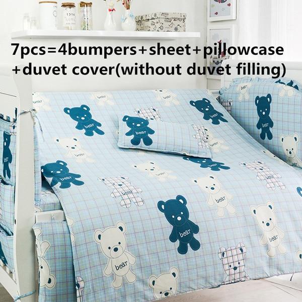 Promotion! 6/7PCS Bear Baby Bedding Set 100% Cotton Crib Bedding Set ,Duvet Cover ,120*60/120*70cm недорого