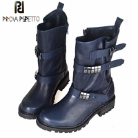 Prova Perfetto Metal Buckle Belt Women Short Boots Square Toe Thick Bottomed Martin Boots Warm Plush In Winter Shoes Feminino