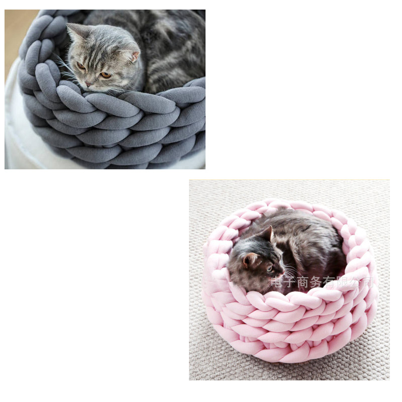 Home & Garden Pawstrip 3 Colors Round Pet Cat Beds Warm Small Dog Cushion Detachable Kitten Bed Breathable Pet House Outfit Cat Teacup Dog Cat Beds & Mats