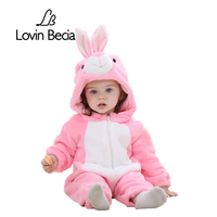 LovinBecia Baby Flannel Costumes Boys Clothes Cartoon Animal Jumpsuits Infant Girls Bebe Hooded Rompers Toddler Baby