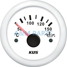 KUS Boat Oil Temperature Gauge Marine Engine Motor Oil Temp Indicator 50-150 Degree 12V 24V 52mm