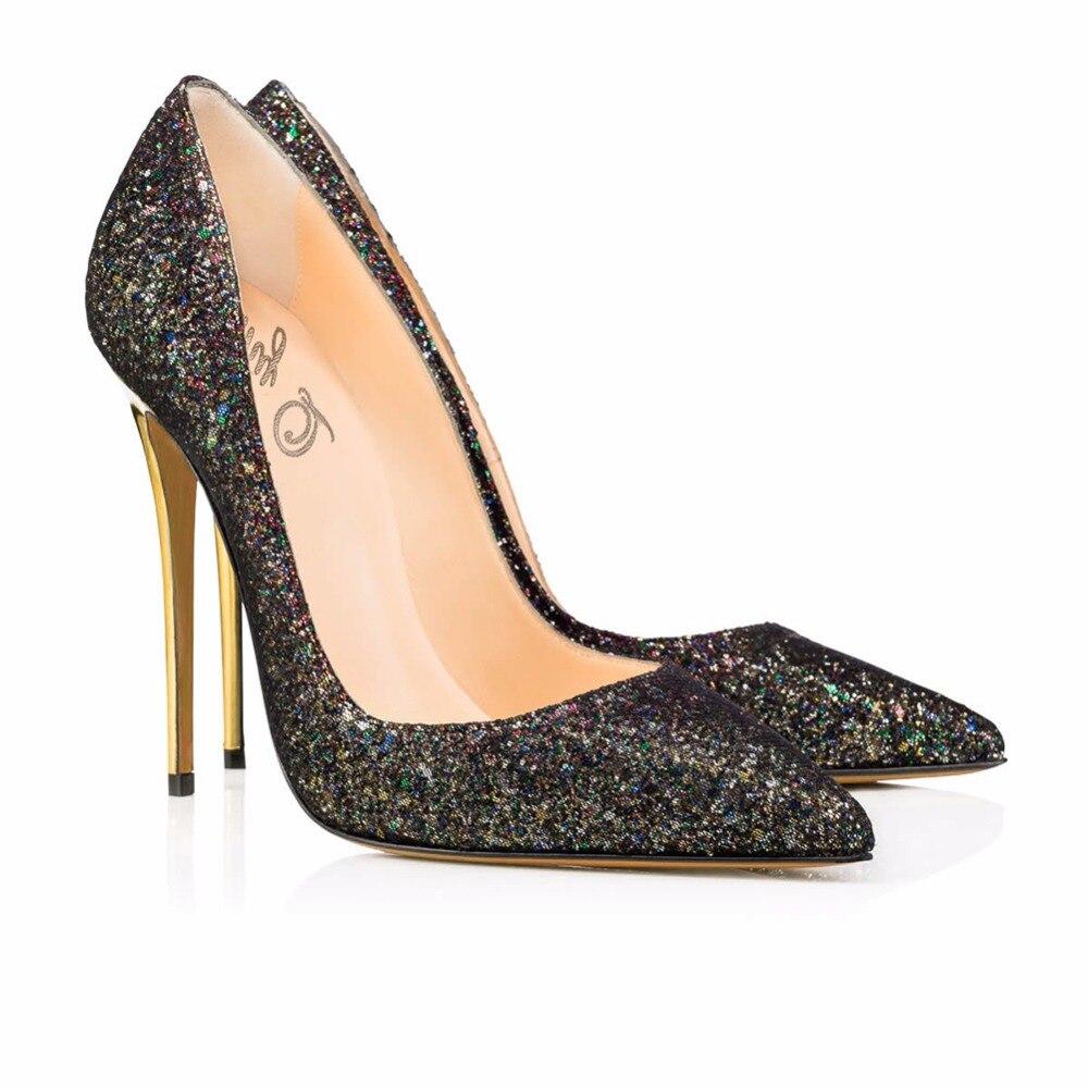 Brillante Bling Gratis Dedo En Brillo Del Nueva Mujer Nupcial Boda Zapato De Alto Bombas Señaló Moda Pie Tacón Black Slip Envío Lujo SwwqYXR