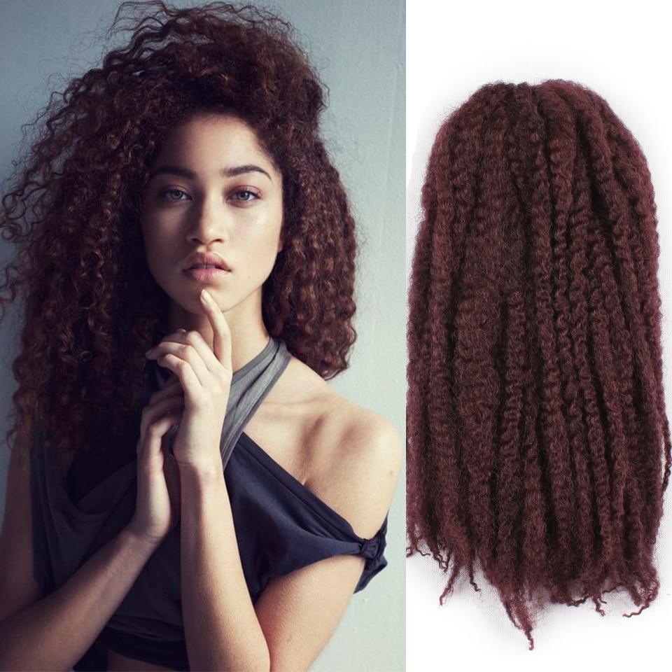 Leeven 8inch Marlibob Crochet Braid Hair Synthetic Braiding Afro Kinky Twist Bundles Kanekalon Black Burgundy For Women Last Style Home