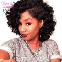 Bouncy Curly Weave Human Hair 3 Bundles With Closure Funmi Brazilian Hair Weave Bundles With Closure