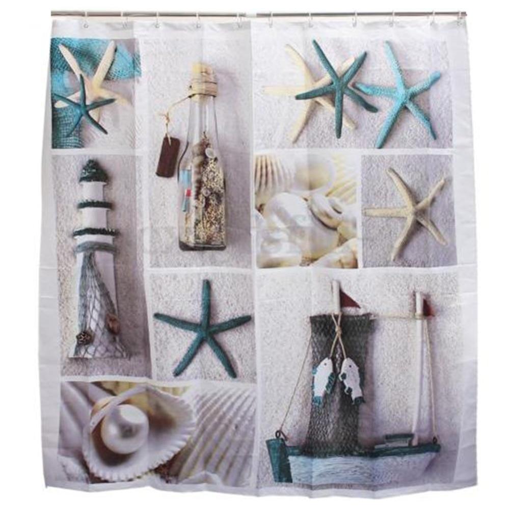 Bathroom Polyester Shower Curtain Beach Starfish Pattern Shower Curtains Bathroom Waterproof Printed Bath Curtain E5M1