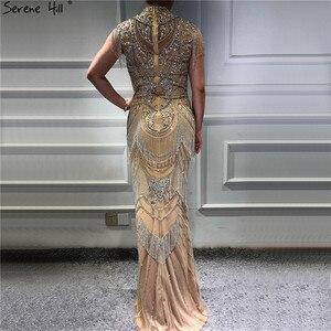Image 4 - Dubai Gold High Collar Luxury Evening Dresses 2020 Sleeveless Diamond Beading Tassel Sexy Evening Gowns Serene Hill LA60893