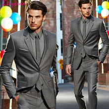Linyixun Hot Selling Grey Groom Tuxedos Wedding Prom Party Lounge Suits ( any Color) Groomsmen Tuxedos Slim Fit Suits(China)