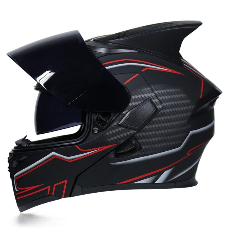 Flip Up Motorcycle Helmet Modular Moto Helmet With Inner Sun Visor Safety Double Lens Racing Full