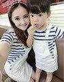 Verano 2017 ropa de la madre y la hija raya Rayado ocasional de la camiseta + vestido de la correa denim traje de aire de familia