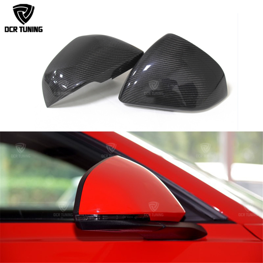 For Ford Mustang Carbon Fiber Rear View Mirror Cover Gloss Black Finish for three type Add