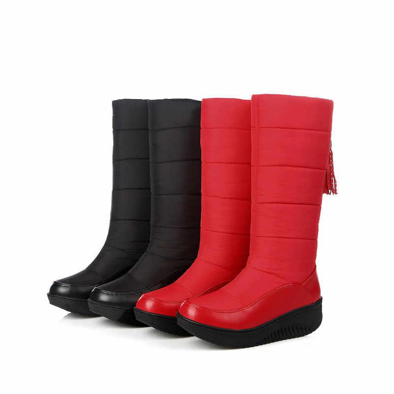 MEMUNIA Sıcak satış kar botları PU aşağı kadın ayakkabı sıcak tutmak orta buzağı çizmeler fringe kışlık botlar platformu moda