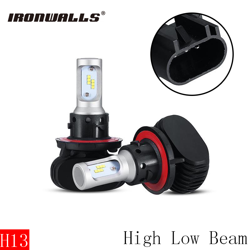 Ironwalls H13 Car Led Headlight Bulbs Cree Csp Chips 50W 6500K 8000Lm High Low Beam Front Fog Light Headlight Lamp Kit 12V 24V ironwalls h11 led car headlight bulbs cree csp chips 72w 8000lm 6500k auto front fog light headlamp 12v 24v for ford toyota